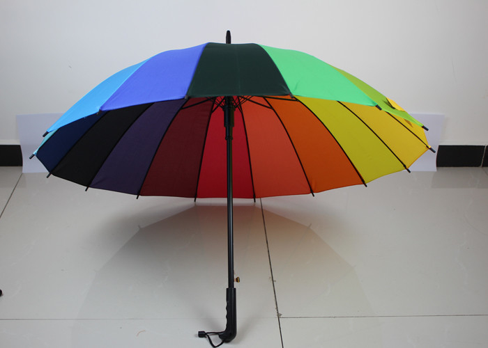 Lightweight Rainbow Golf Umbrella For Rain , Wind Resistant Golf Umbrella